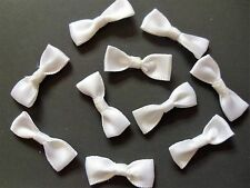 "10 x ""White Tied Satin Ribbon Bows"" Silky Soft Embelishment Craft Decoration"