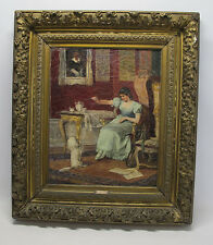 Antique 19th Hans Hosch Victorian Interior Girl & Dog Oil on Canvas Painting.