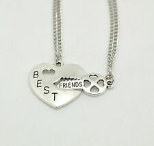 Fashion Women Best Friends Forever Friendship Silver Pendant Necklace 2 Pcs