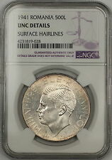1941 Romania 500 Lei Silver Coin NGC UNC Details Surface Hairlines (A)