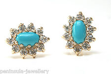 9ct Gold Turquoise Cluster stud earrings Made in UK Gift Boxed