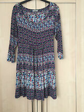 WOMENS TU LONGER LENGTH TUNIC / TOP 3/4 SLEEVES FLORAL DESIGN SIZE 14