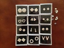 JOB LOT-12 pairs of crystal diamonte stud earrings.Gift boxed.Silver plated.