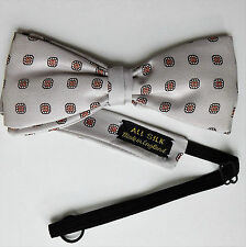 All Silk English bow tie traditional pattern grey Collar size 14 - 19 inches NEW