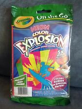 CRAYOLA NEON COLOR EXPLOSION (ON THE GO) 2 MARKERS & 5 SHEETS 5X BRIGHTER!