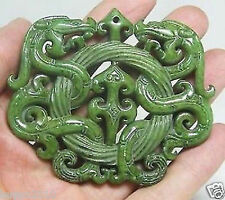 HUYUN2010 CHINESE OLD HANDWORK GREEN JADE CARVED DRAGON PENDANT DR