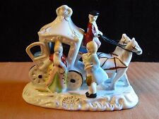 Vintage Porcelain Figurine Scene Victorian Man and Woman Horse Drawn Carriage