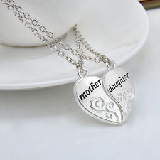 2PCS/SET Mother Daughter Silver Love Heart Pendant Necklace