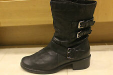 CLARKS Black Leather Boots Biker Style UK 7