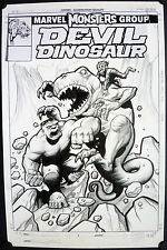 FANTASTIC ERIC POWELL MARVEL COVER - THE HULK FIGHTS DEVIL DINOSUAR