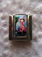"WESTERN ""BETTY BOOP "" 9MM ITALIAN CHARM-SEXY,HAPPY, HORSE, COWGIRL HAT"