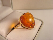 Vintage 14K 583 Gold Baltic Amber Heart Shape Ring ~Size 7