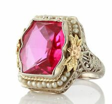 Antique Art Deco 14k White Gold Filigree Pink Sapphire Seed Pearl Ring 1251780