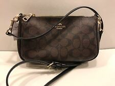 New Authentic Coach F36674 Top Handle Pouch Purse In Signature PVC Brown Black