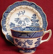 BOOTHS china REAL OLD WILLOW pattern Cup & Saucer Set Gold Trim - 2-1/2""