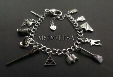 Harry Potter Charm Bracelets Books Deathly Hallows Wands Cats Wizards Hats Owls