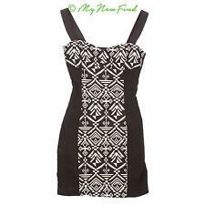 H&M DIVIDED TRIBAL SWEETHEART NECK SLEEVELESS BODYCON BLACK DRESS 4 XS B59