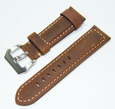 Brown Vintage Mens Genuine Leather Watch Strap Band 24mm wathcbands