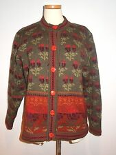 CHERRY LEWIS WOOL KNIT OLIVE GREEN / RUSTY FALL COLORS CARDIGAN SWEATER M MINT