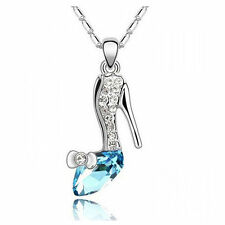 Blue Silver Crystal Cinderella Shoes Necklace Glass Slipper Princess Pendant New