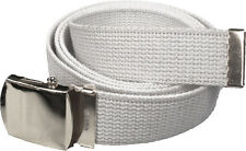 NAVY BELT WITH CHROME BUCKLE 100% Cotton Military Web Belts Rothco 4294