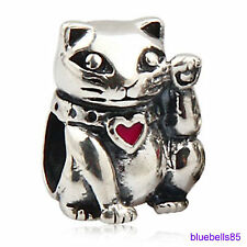 .925 Sterling SILVER LUCKY WAVING CAT BEAD For 3mm European CHARM BRACELET