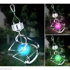 CHANGING LED OUTDOOR GARDEN SOLAR POWERED WIND SPINNER CHIME MOBILE LIGHT