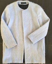Zara Woman Wool Coat sz Small Alpaca Mohair Mix Powder Blue Spain
