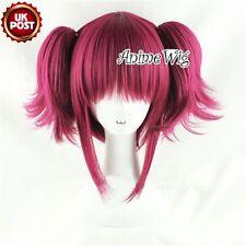 Black Butler Kuroshitsuji Mey Rin Wine Layered Wine Red Cosplay Wig + Ponytails