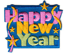 """HAPPY NEW YEAR""- Iron On Embroidered Applique Patch /Sayings. Words, Holiday"