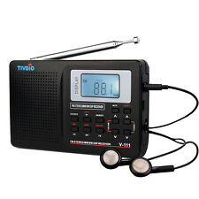 TIVDIO Portable DSP FM Stereo/MW/SW Radio World Band Receiver Digital Clock Top