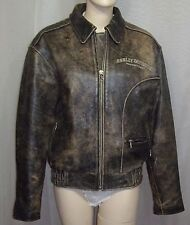 Harley Davidson Distressed Leather Motorcycle Bomber Jacket Men's Small Brown