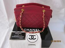 Vintage 1990's CHANEL France Red Lambskin Leather Handbag Excellent Condition