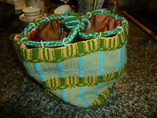FABULOUS FIND! HAND MADE BAG FOR HOLDING CROCHET BALL AT WAIST WHILE SEWING!