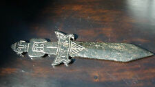 ANTIQUE  CHINESE HAND CARVED BLACK JADE BUDDHA GRIP DAGGER WITH INSCRIPTIONS