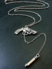 "Silver Bullet Gun Y-Drop Pendant Necklace on 21"" Stainless Steel Chain"