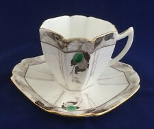 Shelley Queen Anne Cup & Saucer #11564 Rare Green Damson Pattern With Gold Trim