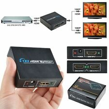 Full HD HDMI Splitter 1X2 2 Port Hub Repeater Amplifier v1.4 3D 1080p 1in2 out Y