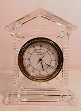 "Waterford Crystal Glass Acropolis Clock 6""  Desk Mantel Clock Seahorse Signed"