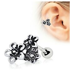 316L Stainless Steel Triple Accented Flower Upper Ear Cartilage Helix Earring