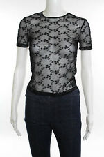 D&G Dolce & Gabbana Black Lace Floral Print Short Sleeve Top Size 40 NEW $150