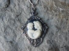 MOTHER AND CHILD CAMEO PENDANT NECKLACE -ON BLACK, MOTHER'S GIFT -MOTHER GIFT M1