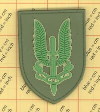 Olive PVC Morale SAS Patch Military British Special Forces Army Who Dares Wins