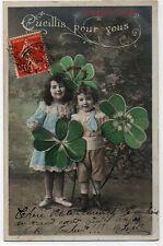Carte postale ancienne - Cueillis pour vous - Enfants, trèfles 4 feuilles - 1906