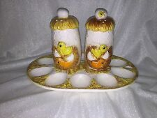 Vintage Made in Japan Deviled Egg Platter with Matching Salt and Pepper Shakers