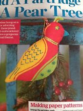 Christmas Felt Decoration Sewing Pattern - Partridge In A Pear Tree
