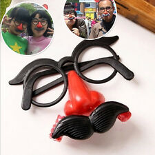 Clown Glasses Costume Ball Round Frame Red Nose w/Whistle Mustache FT
