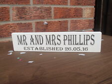Wooden wedding mr & mrs established free standing sign shabby vintage top table