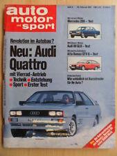 AUTO MOTOR UND SPORT 25.2. - 4/1981 Audi Quattro 80 GLD Mercedes 200 Alfa Romeo