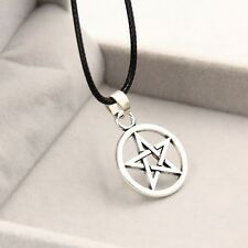 Black Leather Cord Silver Pentagram Round Pendant Necklace Wiccan *UK*
